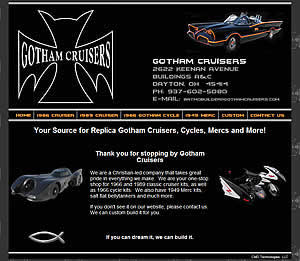 Gotham Cruisers - Dayton, OH  -  Batmobile Replica Kits and Full Builds -  Dayton, OH website design