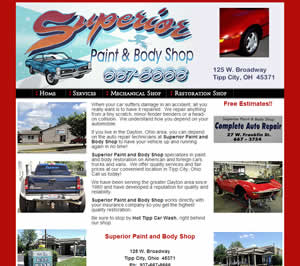 Superior Paint and Body Shop - Tipp City, OH website design
