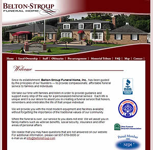 Belton-Stroup Funeral Home - Fairborn, OH website design  45324