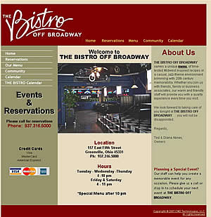 The Bistro Off Broadway - Greenville, OH website design  45331