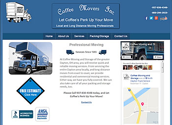 Coffee Movers - Clayton and Dayton, OH  website design