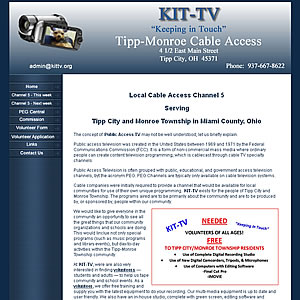 KIT-TV Tipp-Monroe Cable Access, Tipp City, OH website design  45371