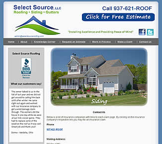 Select Source Roofing - Dayton, OH website design